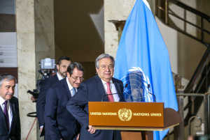 TALKING POINT AT THE UN IN GENEVA CONCERNING CYPRUS UN Secretary-General Antonio Guterres during a press briefing to the press. He was accompanied by HE Mustafa Akinci, President of Northern Cyprus (left- turkish part) and HE Nicos Anastasiades, President of Cyprus (right greek part).